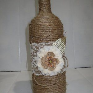 Jute wrapped XL wine bottle/vase. Burlap flower